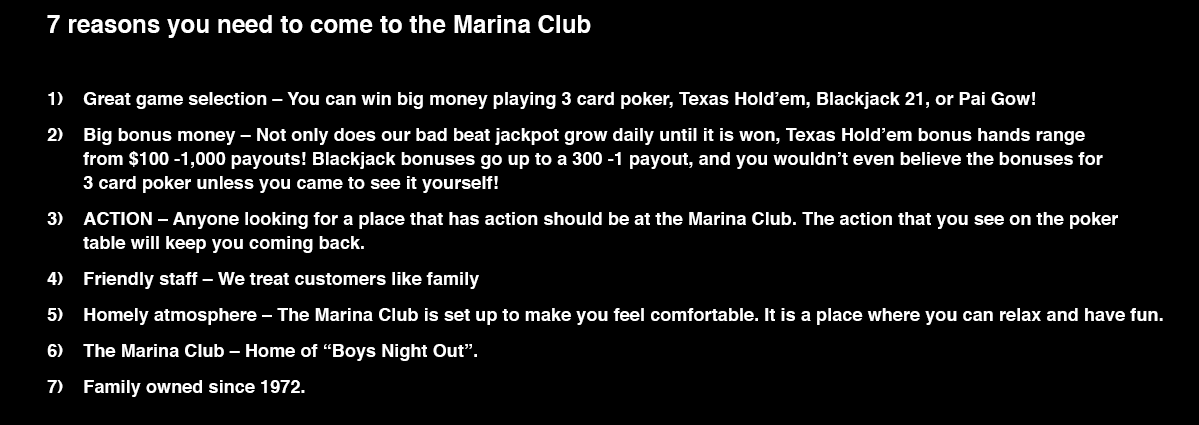Marina club casino account casino checking deposit using